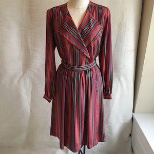 Vintage 70s 2-piece Dress Striped Midi Set